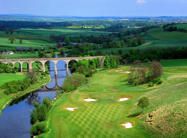 The Viaduct 14th hole at The Roxburghe, Kelso. Image by courtesy of the European Tour.